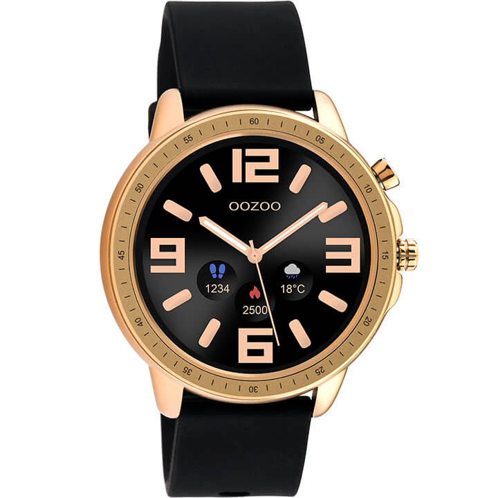 OOZOO Smartwatch Rubber Zwart/Rosé Goud | Q00303