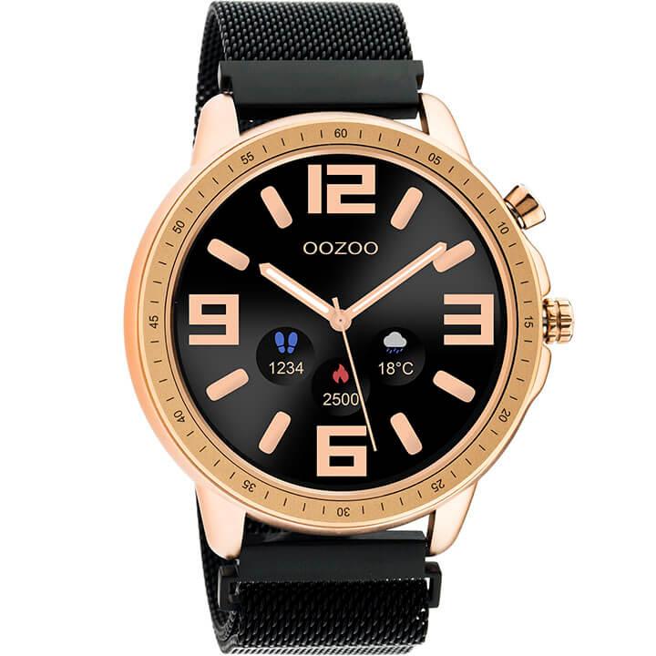 OOZOO Smartwatch Mesh Zwart/Rosé Goud | Q00308