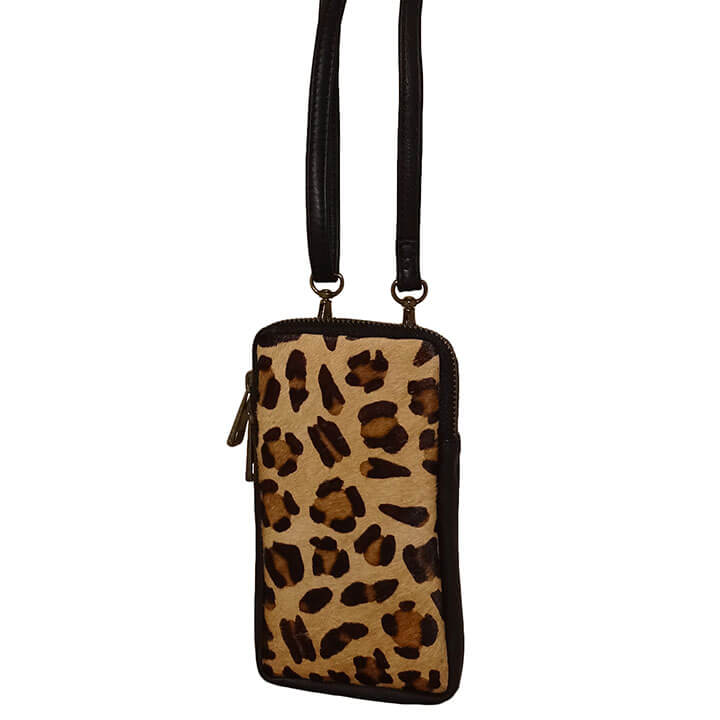 Bear Design Phone Bag Telefoontasje Black Cheetah