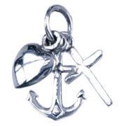 Echt Zilveren Kettinghanger Hoop, Geloof en Liefde