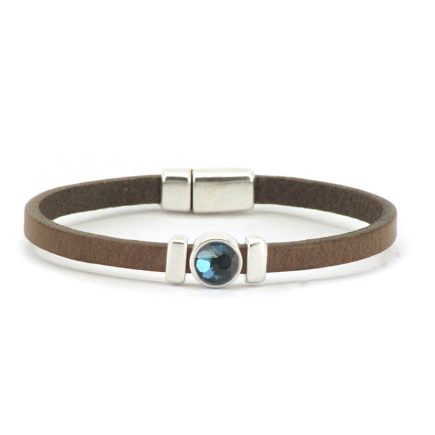Qoss Taupe Armband Charlotte Swarovski Jeansblauw