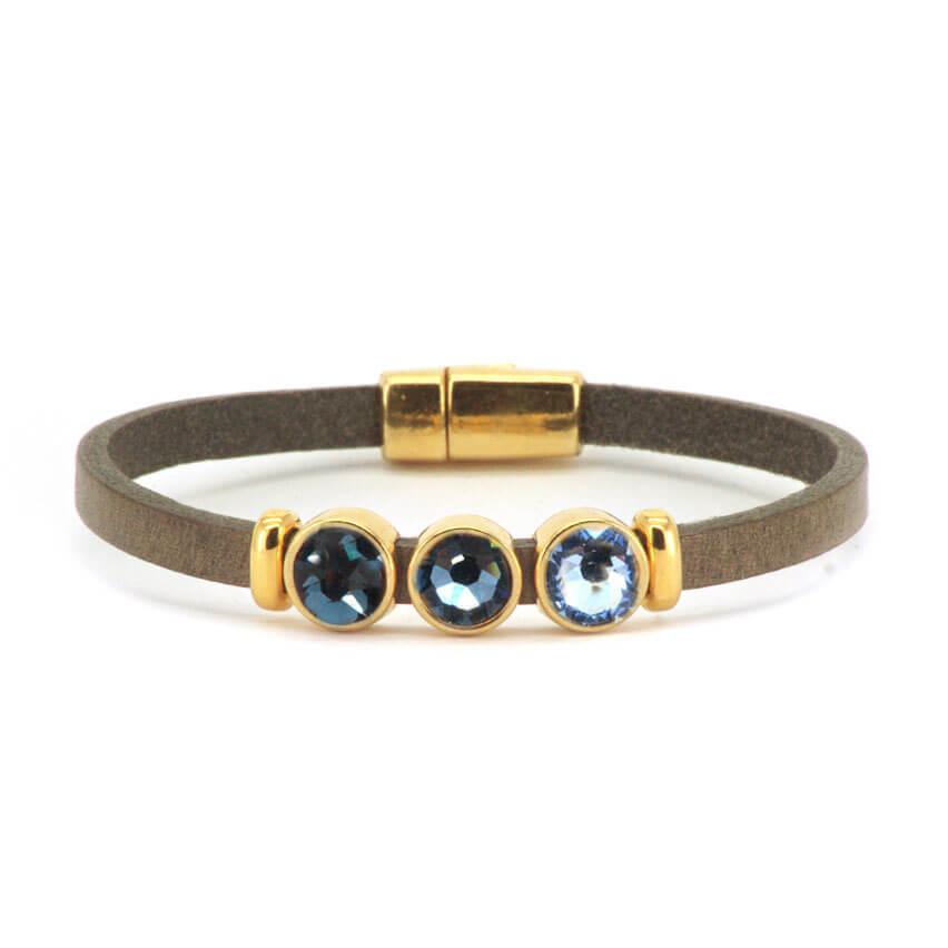 Qoss Taupe Armband Milo Goud Swarovski Blauw