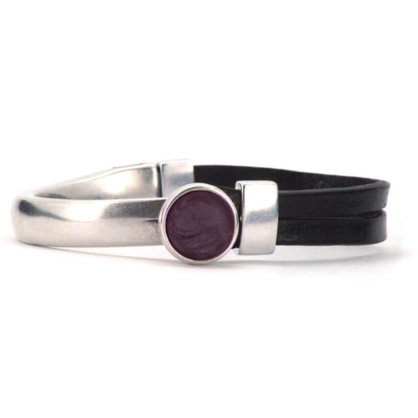 Qoss Zwarte Armband Gwen Paarse Bol
