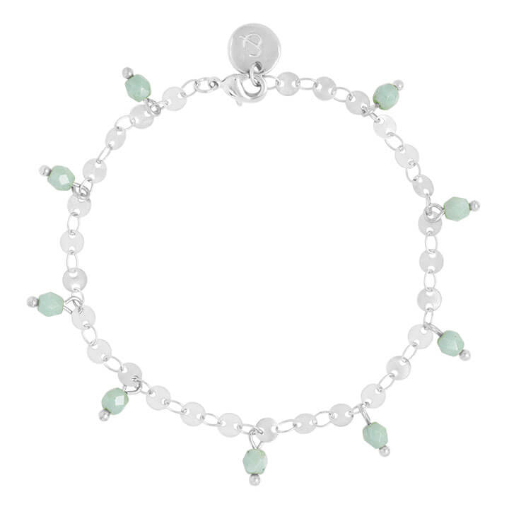 &Anne Armband - Green Beads - Zilver
