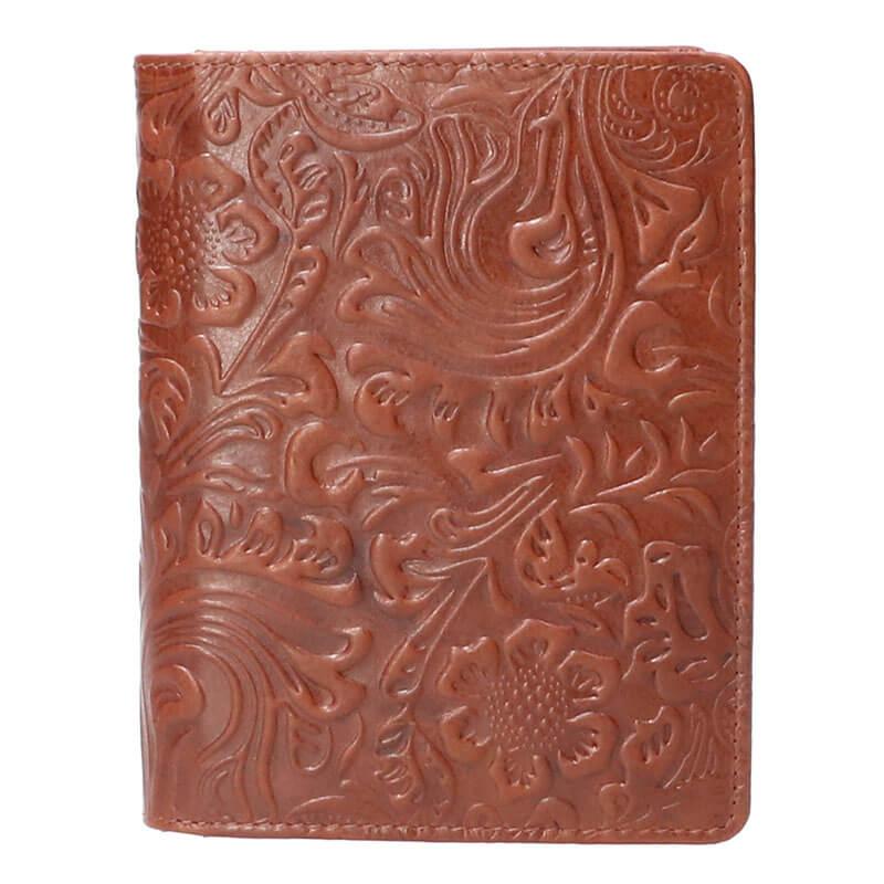 Leather Design Portefeuille Flower Bruin
