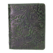 Leather Design Portefeuille Flower Groen