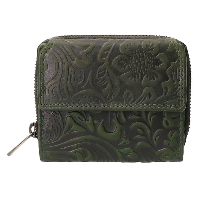 Leather Design Portemonnee Flower Groen