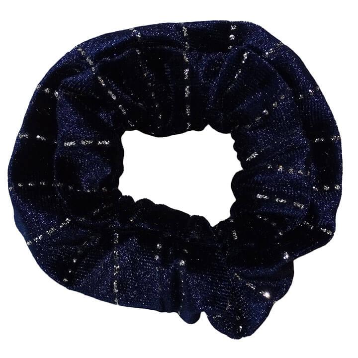 Scrunchie Haarelastiek Velvet Donkerblauw met Glitter