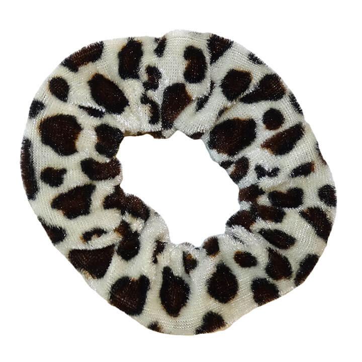 Scrunchie Haarelastiek Velvet Leopard Wit / Bruin