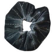 Scrunchie Haarelastiek Velvet Grijs met Glitter