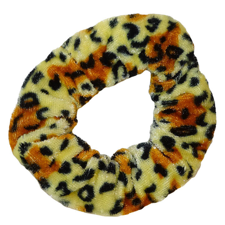 Scrunchie Haarelastiek Velvet Leopard Zand / Oranje
