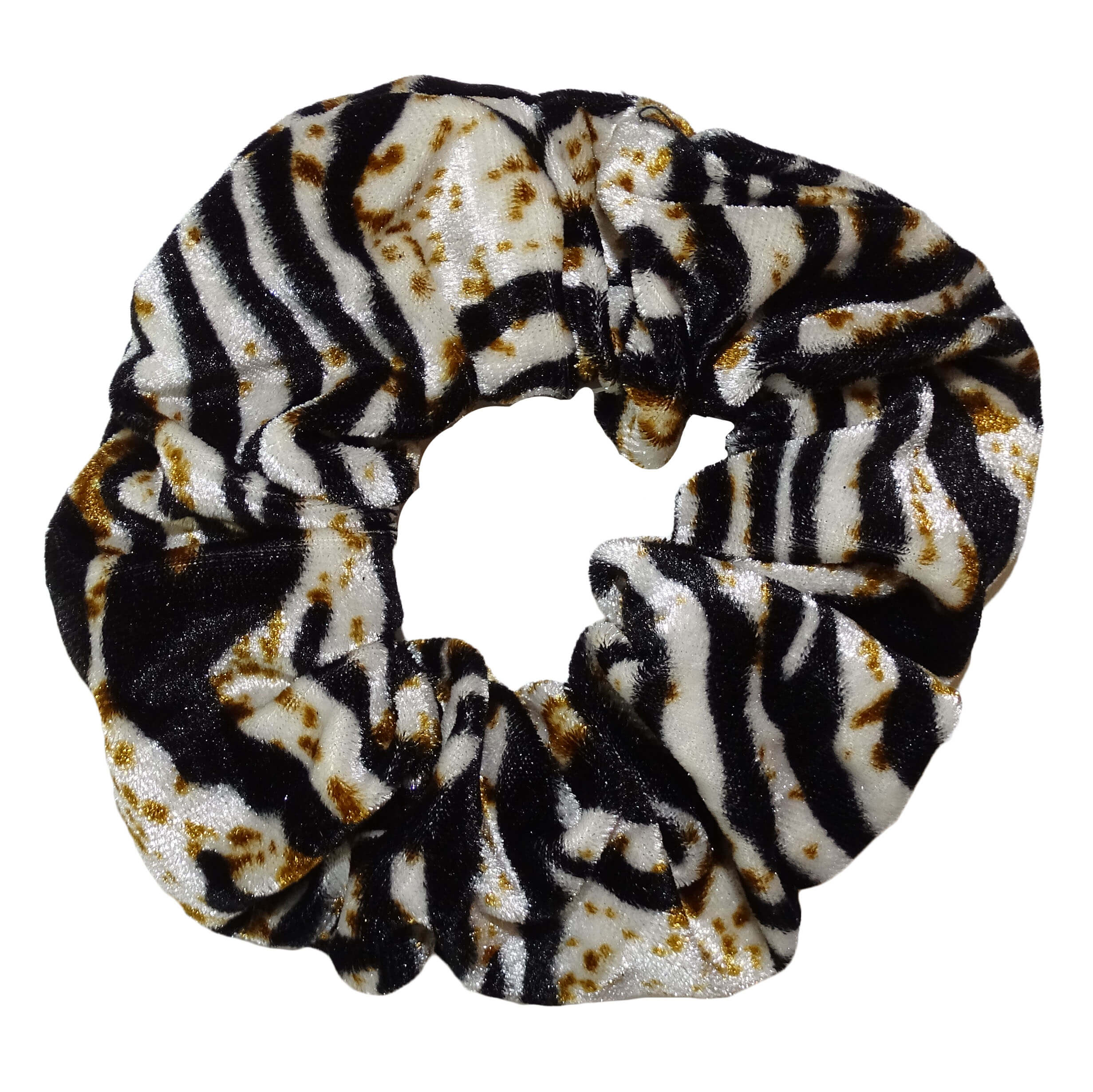 Scrunchie Haarelastiek Velvet Mixed Zebra