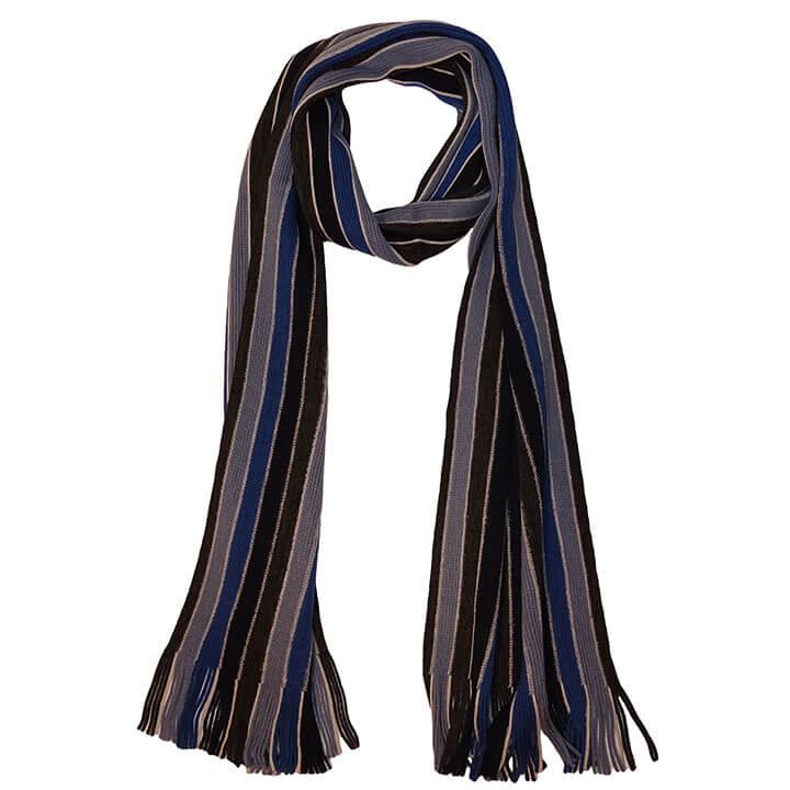 Daspartout Langwerpige Katoenen Sjaal Gestreept Blauw/Grijs/Zwart