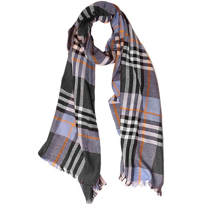 Daspartout Langwerpige Katoenen Sjaal Gestreept Blauw