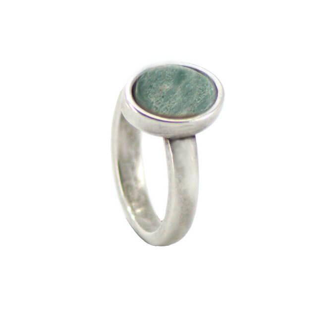Qoss Ring Door Ovale Groene Steen