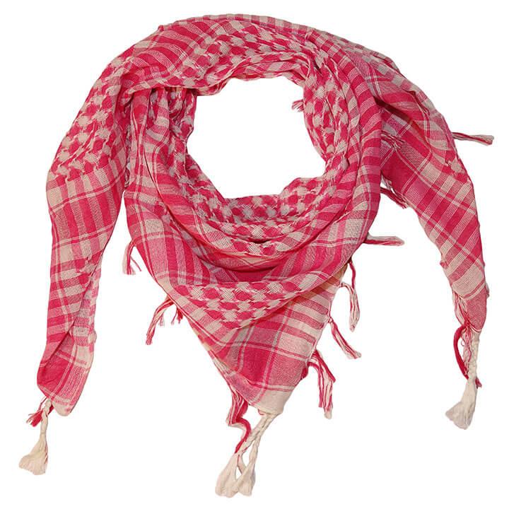 Vierkante Arafat Sjaal met Geruite Print Roze