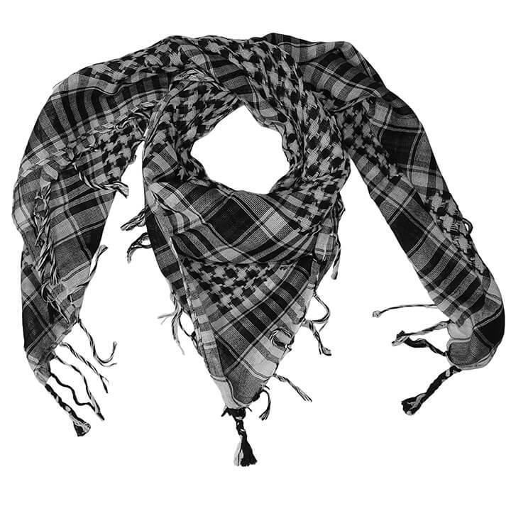 Vierkante Arafat Sjaal met Geruite Print Zwart