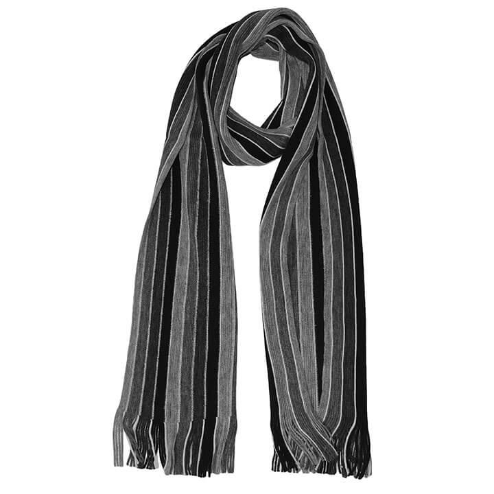 Daspartout Langwerpige Katoenen Sjaal Gestreept Grijs/Zwart/Wit