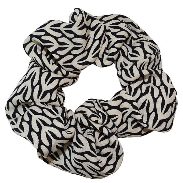 Scrunchie Haarelastiek Zwart/Wit Print