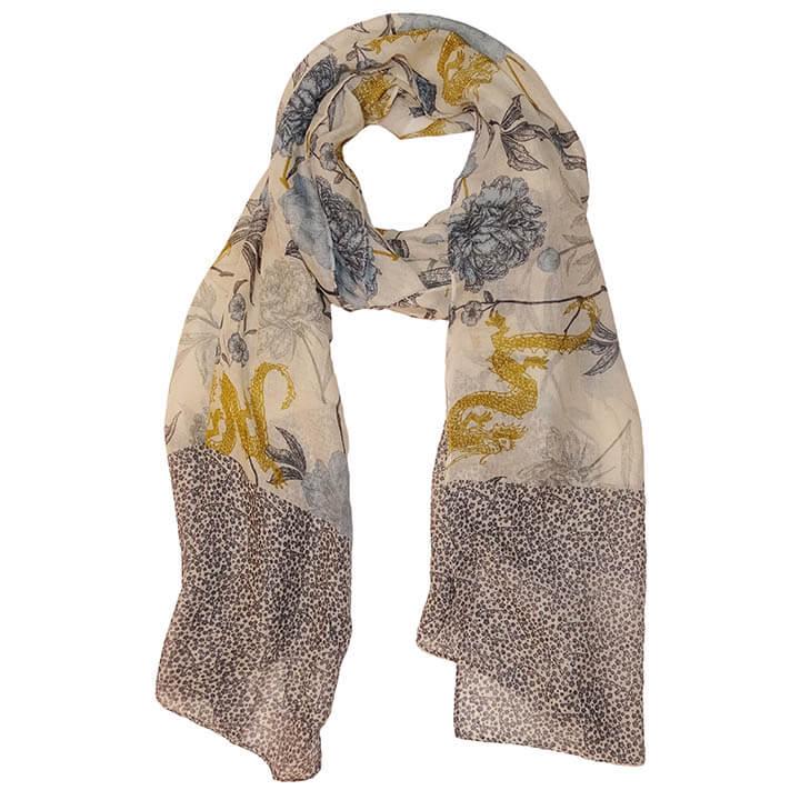 Sarlini Langwerpige Sjaal Leaves Denim