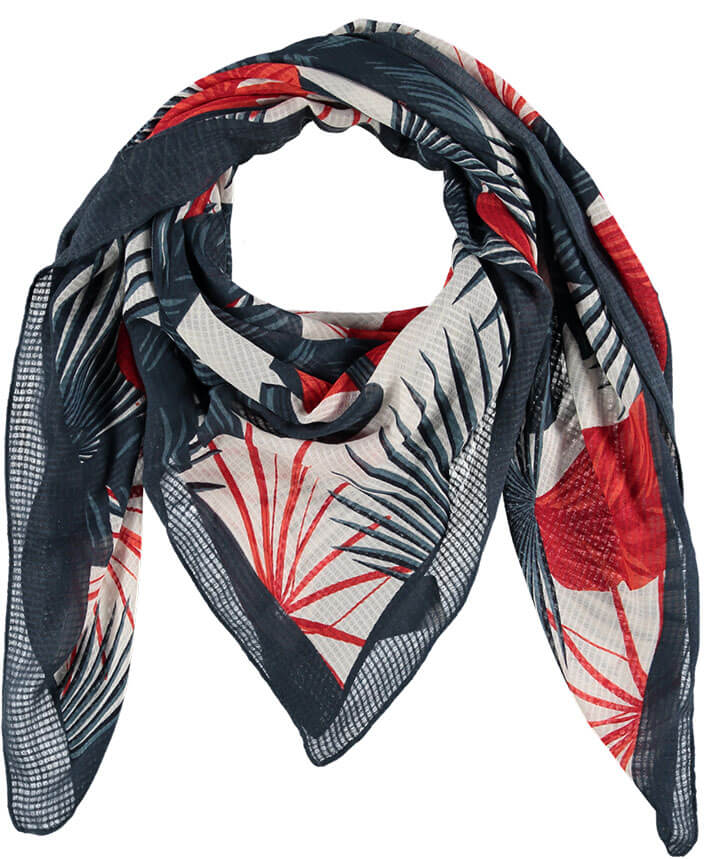 Sarlini Vierkante Sjaal Leaves Blauw/Rood