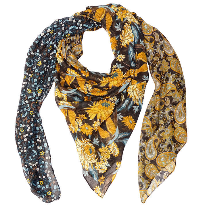 Sarlini Vierkante Sjaal Flower Multi Black