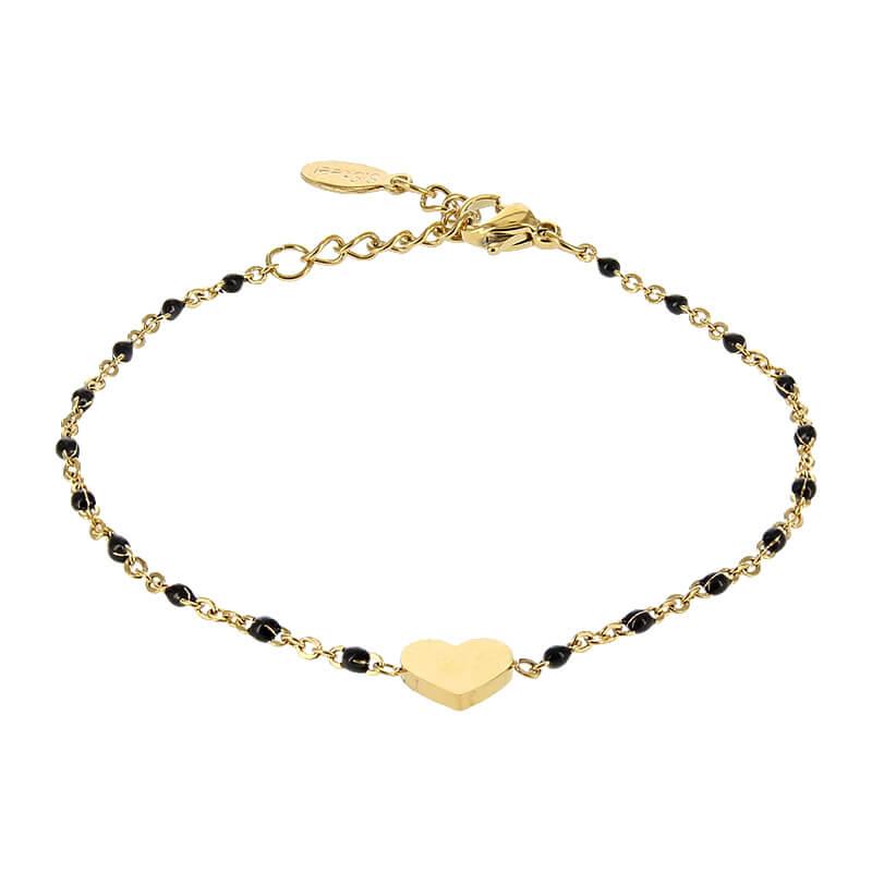 Kalli Armband met Zwart Bolletjes en een Hartje Goud | 2587