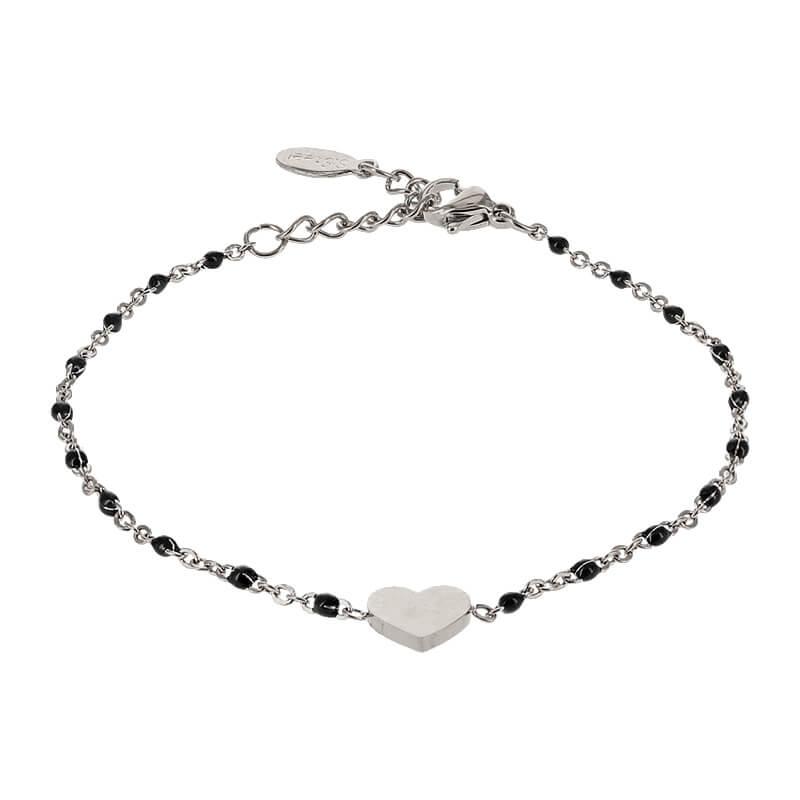 Kalli Armband met Zwart Bolletjes en een Hartje Zilver | 2587