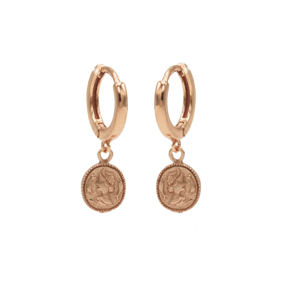 Karma Oorringen Hinged Hoops Coin Rosé