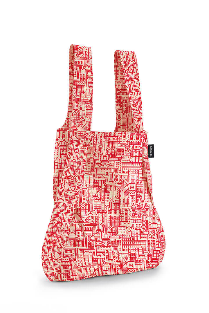 Notabag Rugzak / Shopper Hello World Roze/Rood