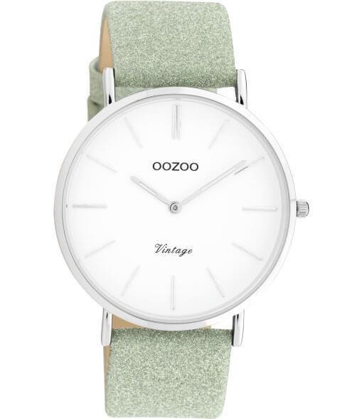 OOZOO Timepieces Horloge Vintage Glitter Groen/Wit | C20146
