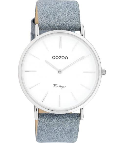 OOZOO Timepieces Horloge Vintage Glitter Blauw/Wit | C20147