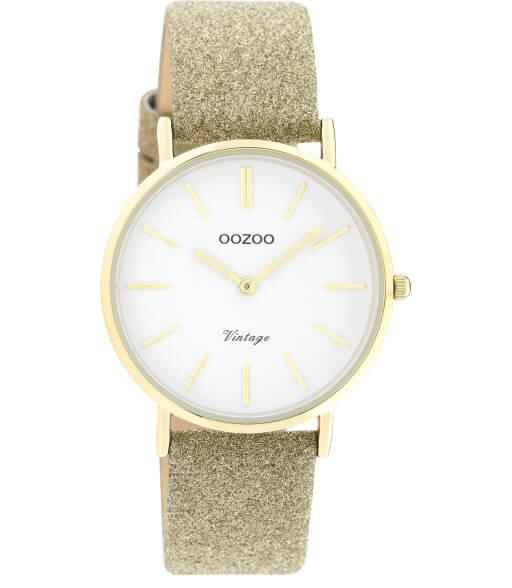 OOZOO Timepieces Horloge Vintage Glitter Goud/Wit | C20156