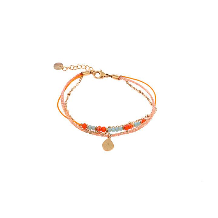Go Dutch Label Armband 3 Laags Oranje / Goud