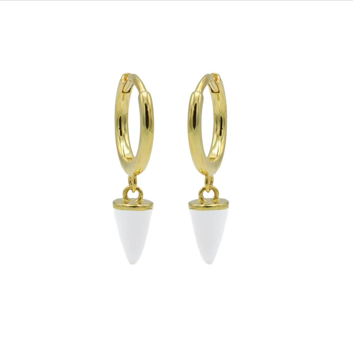 Karma Oorringen Hinged Hoops Emaille Cone Wit Goud