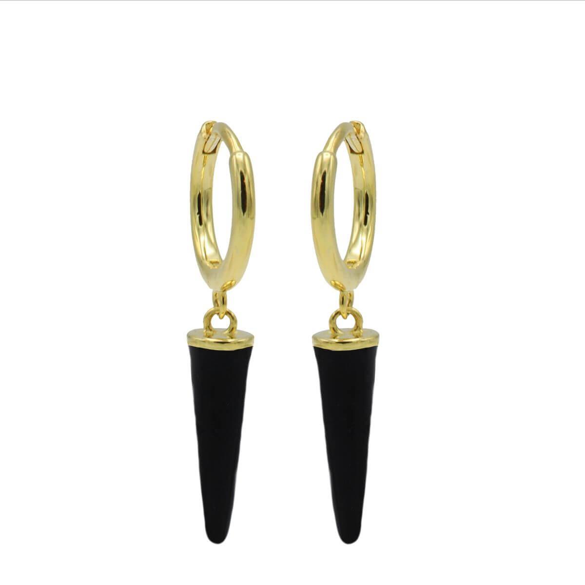 Karma Oorringen Hinged Hoops Emaille Long Cone Zwart Goud