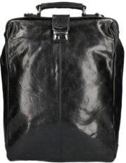 """Leather Design Leren Rugzak / Schoudertas Groot 15.6"""" Zwart"""