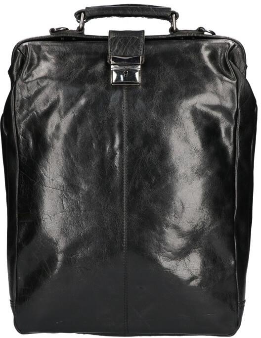 Leather Design Leren Rugzak / Schoudertas Groot 15.6'' Zwart