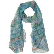 Langwerpige Doorgestikte Sjaal met Turquoise Tinten