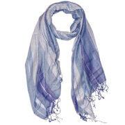 Langwerpige Sjaal met Franjes Gestreept Blauw