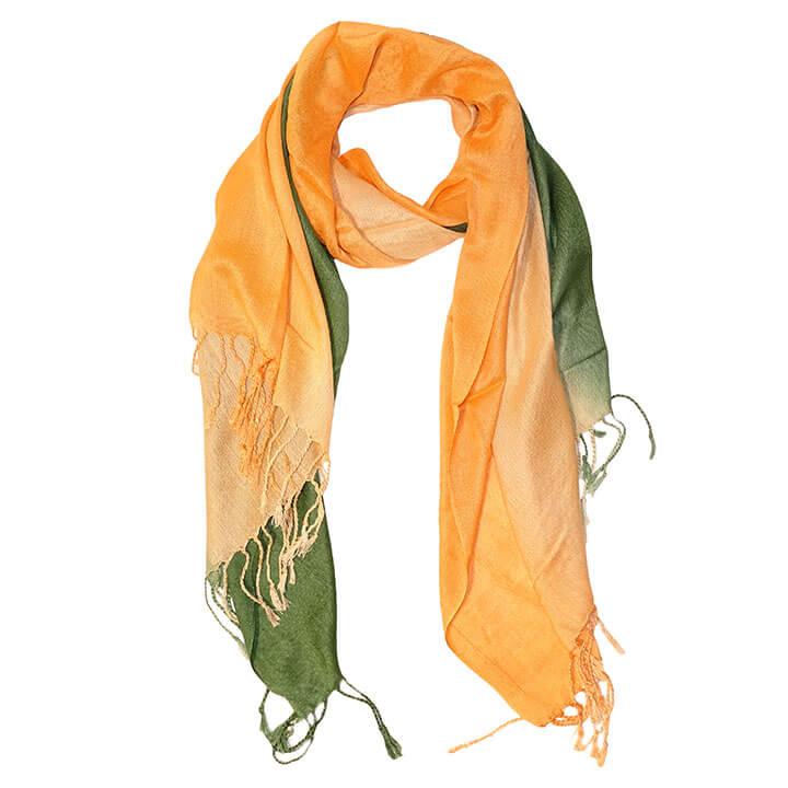 Langwerpige Sjaal met Franjes Oranje/Groen