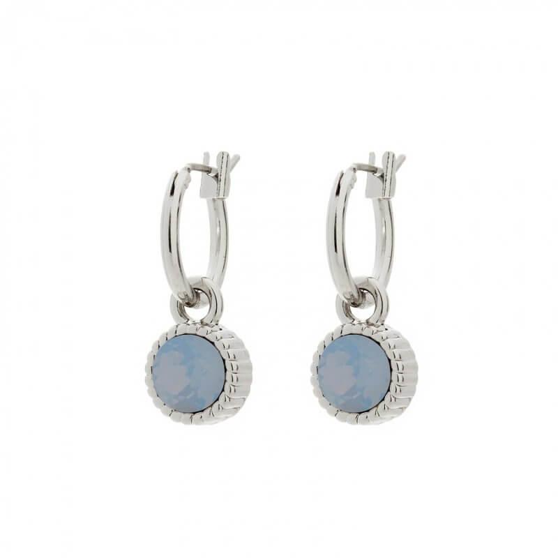 Biba Hang Oorbellen Zilver met Swarovski Steentje Air Blue Opal