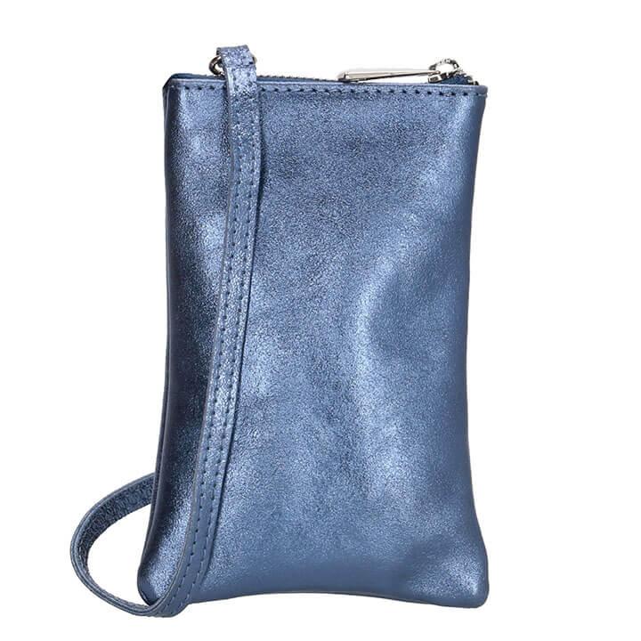 Charm London Phone Bag Elisa Telefoontasje Metallic Jeansblauw