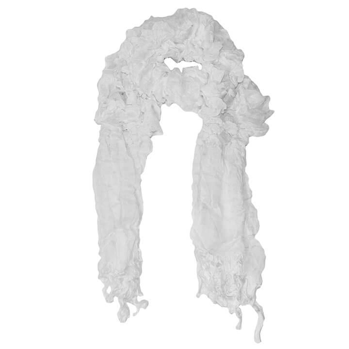 Langwerpige Sjaal met Franjes Dancing Wit