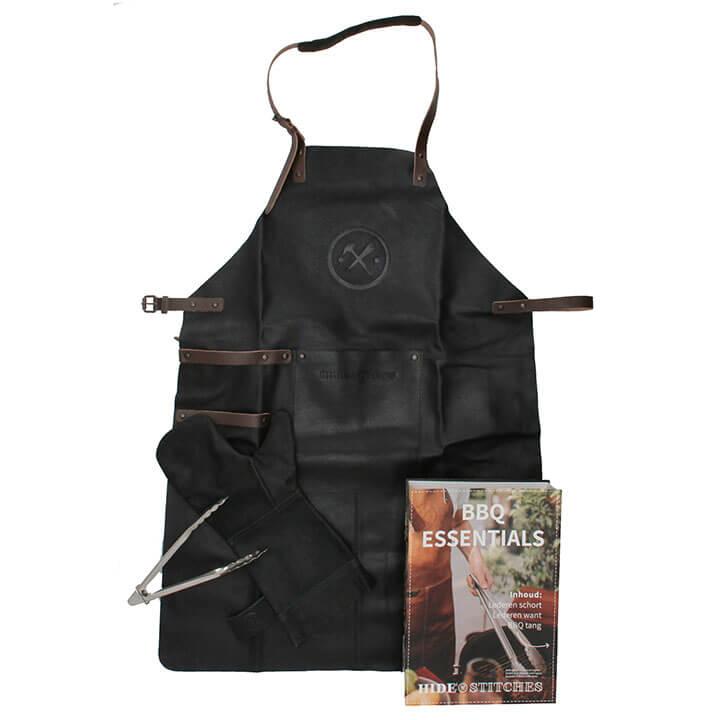 Hide & Stitches BBQ Essentials: Lederen Schort + Want + Tang Zwart