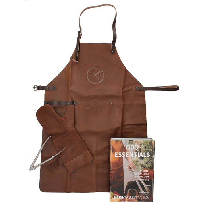 Hide & Stitches BBQ Essentials: Lederen Schort + Want + Tang Bruin