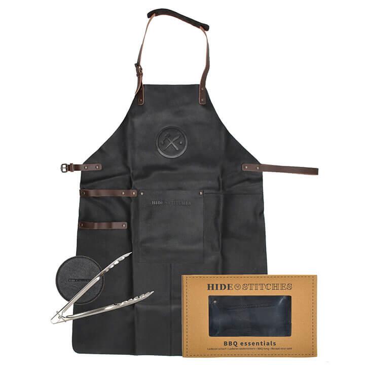 Hide & Stitches BBQ Essentials: Lederen Schort + Onderzetters + Tang Zwart