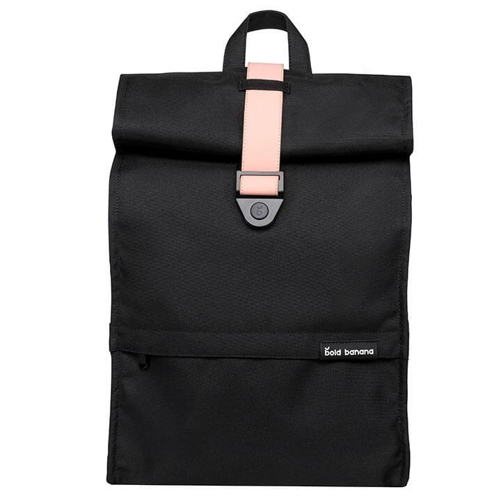 Bold Banana Roll Top Backpack Rugzak 15.6'' Black Rose