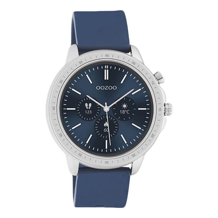 OOZOO Smartwatch Rubber Blauw/Zilver | Q00315