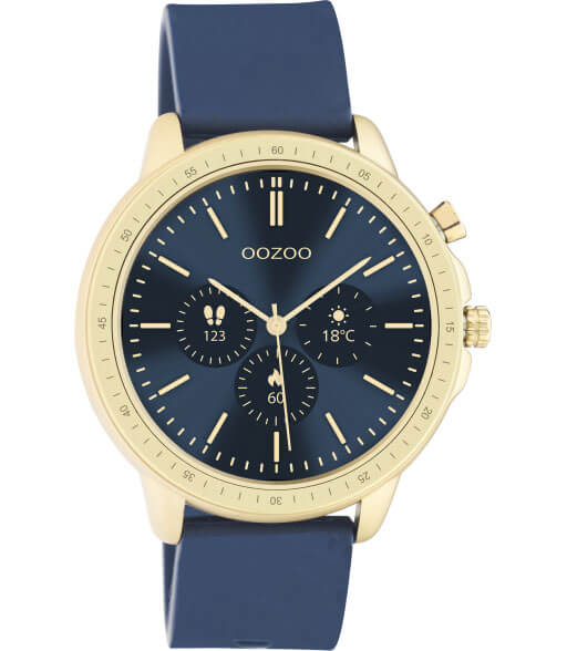 OOZOO Smartwatch Rubber Blauw/Goud | Q00321